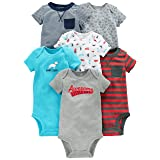 Simple Joys by Carter's Baby Boys 6-Pack Short-Sleeve Bodysuit, Navy/Red, 0-3 Months (Color: Navy/Red, Tamaño: 0-3 Months)