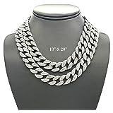 Shiny Jewelers USA Mens Iced Out Hip Hop Silver tone CZ Miami Cuban Link Chain Choker Necklace (18