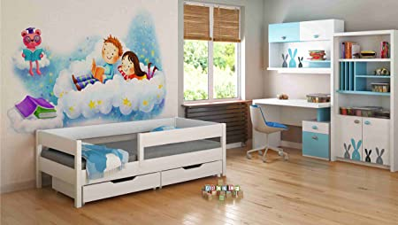 Single Beds For Kids Children Toddler Junior 140x70/160x80/180x80/180x90/200x90 Comes with Drawers and 10cm Foam/Coconut Fibre Matress (160x80, White)