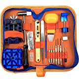 QwikFixxer Watch Repair Kit: 16 Universal Tools, Case Wrench, Watch Band Tool; Plus Free Spring Bars (Color: Orange/Blue)