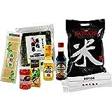 Soeos Complete Sushi Gift Box with Sushi Rice, Sushi Nori, Sushi Maker Mat, Ginger, Wasabi, Vinegar, Soy Sauce, Chopsticks (Tamaño: Premium)