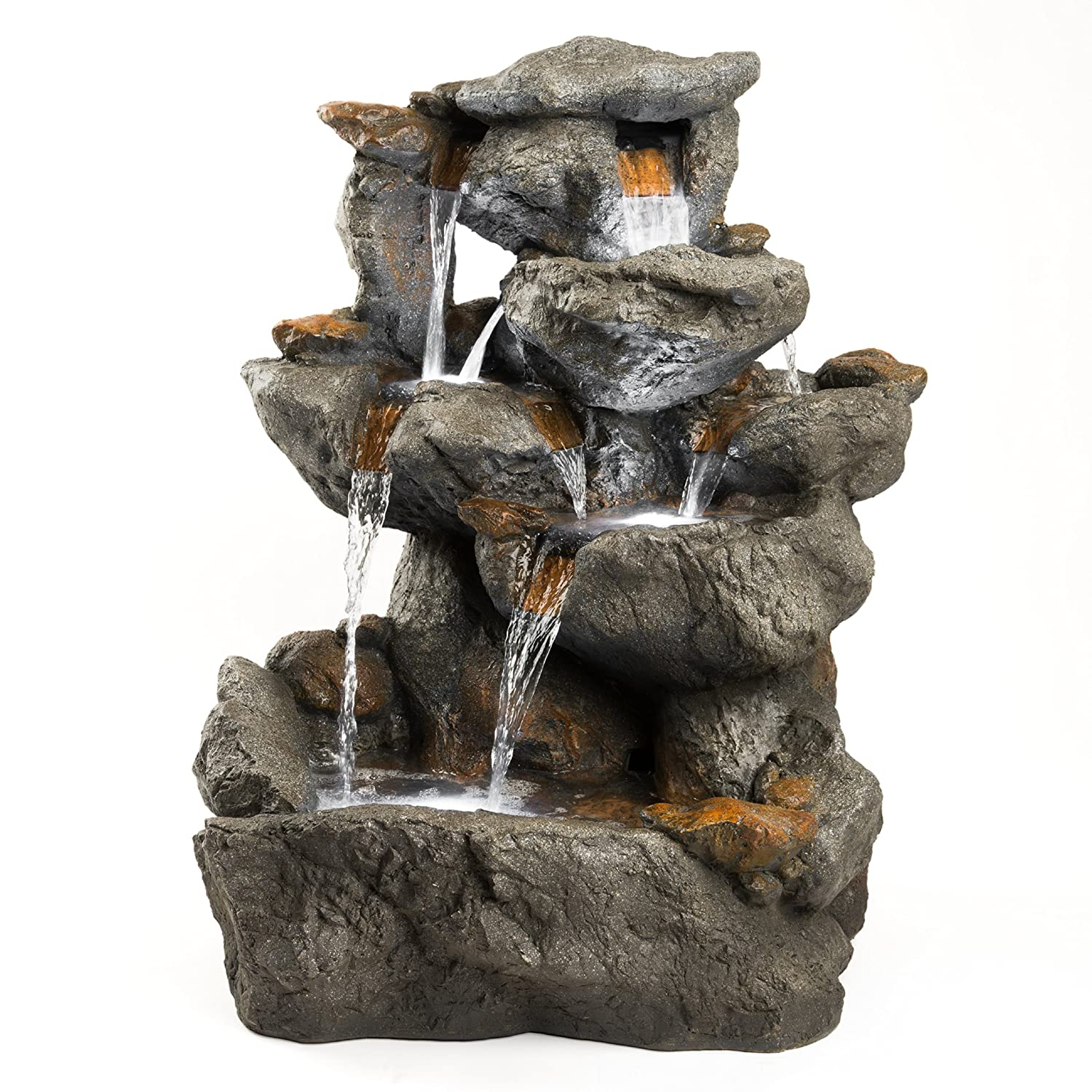 Outdoor free standing fountains for garden decoration for Garden rock waterfall fountain