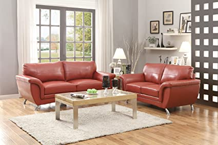 Homelegance Chaska Sofa in Red Leather