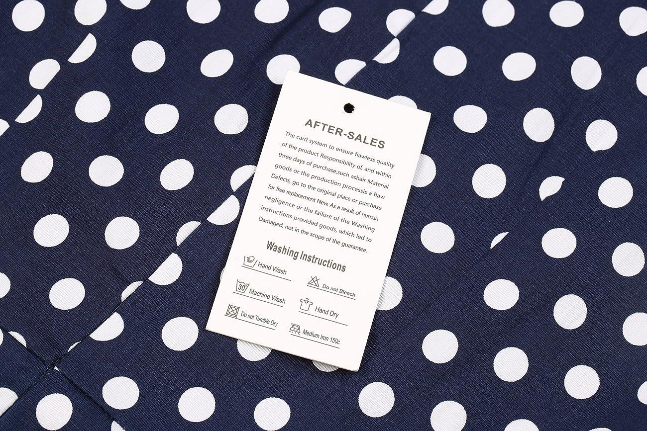 Creti Women's 1950s Vintage Halter Polka Dot V-Neck Sleeveless Swing Dress 5