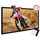 Varmax Portable Projector Screen Foldable Canvas Material for Outdoor Movie 120 inch 16:9 (Color: black, Tamaño: 120-inch)