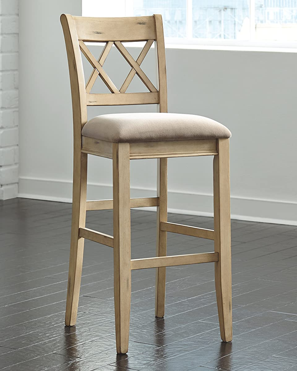 Tall Upholstered Barstool in Antique White Finish - Set of 2