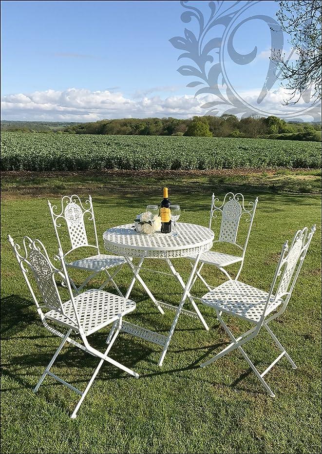 Bianco stile vintage Garden–Set di 4sedie e tavolo in ghisa