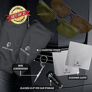 a3f54aa88588 BLUPOND KNIGHT VISOR Set of 2 - Driving Glasses Anti-Glare HD Vision - Yellow  Lens Night Driving ...