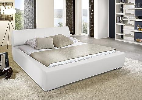 SAM® Polsterbett Messina in weiß 180 x 200 cm Chrom farbene Fuße modernes Design Kopfteil abgesteppt Wasserbett geeignet Bett