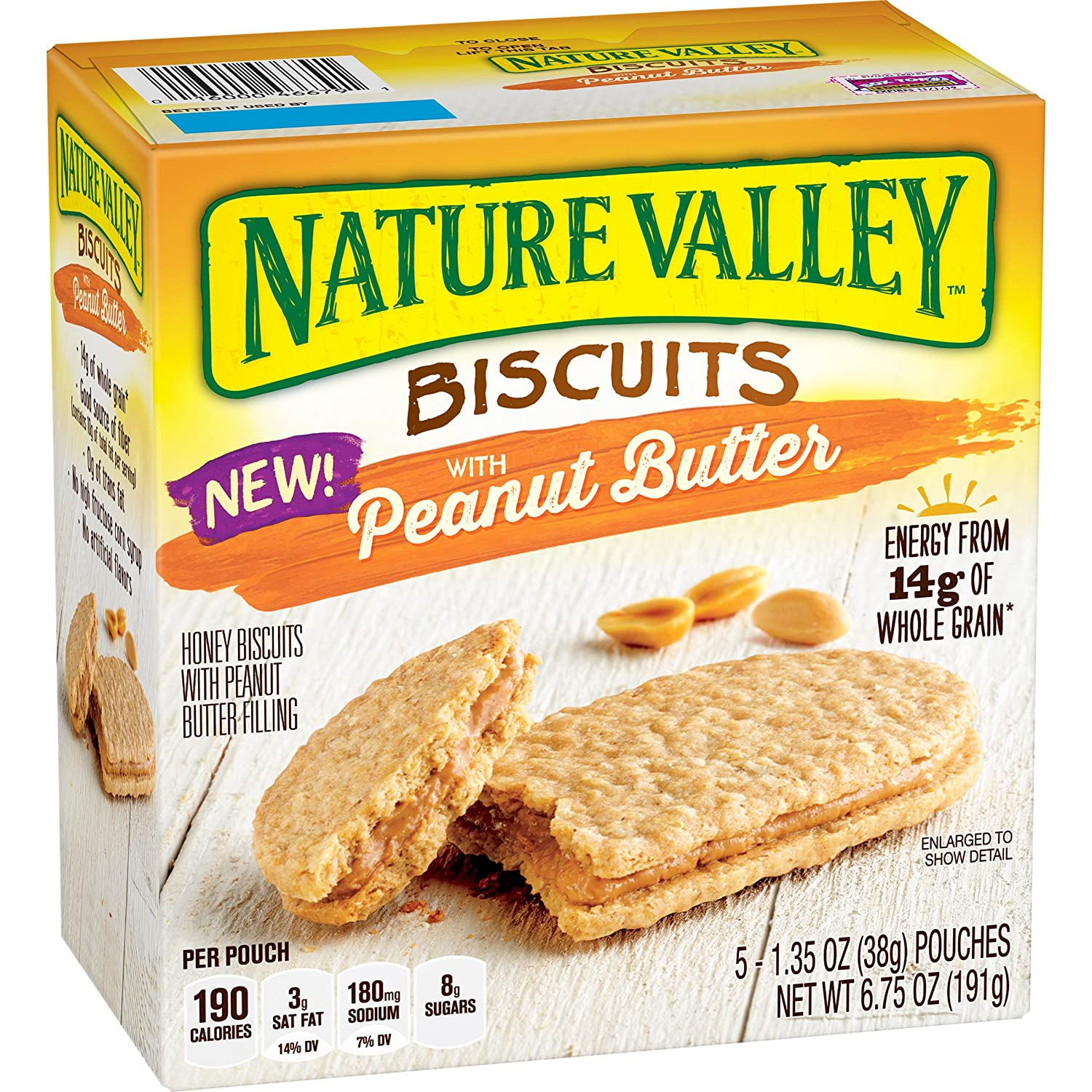 Nature Valley Biscuits, Peanut Butter, 5 Count