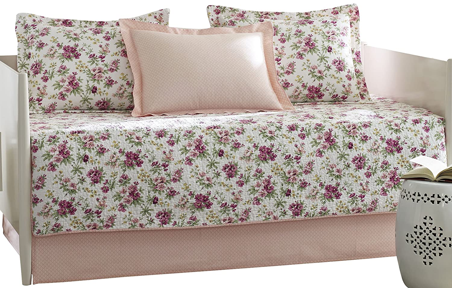 Laura Ashley 5-Piece Dorthea Pink Daybed Cover Set, Twin, Floral