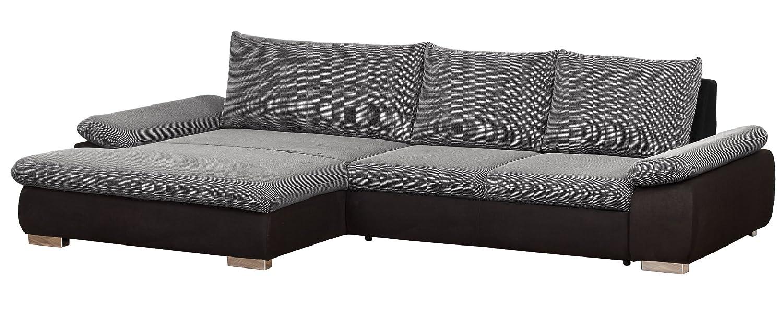 Polsterecke Peach/Longchair XL-3er Bett mit beidseitiger Armteilfunktion/319x72x184 cm/Ceres schwarz weiss-Altara schwarz