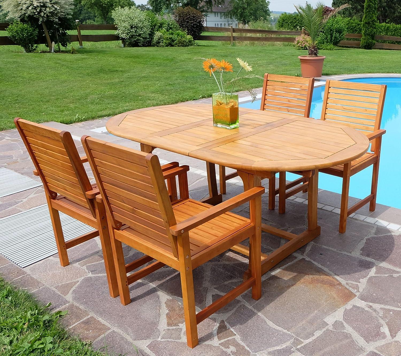Edle Gartengarnitur Gartenset Gartenmöbel Garnitur Sitzgruppe SARIA-EU-180 mit 4 Sessel und einem ausziehbarem Tisch 180cm Holz Eukalyptus wie Teak von AS-S