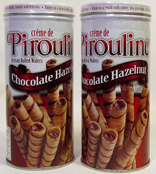 Creme De Pirouline Chocolate Hazelnut Artisan Rolled Wafers All Natural 3.25 Oz Tins (2 Tins)