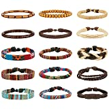 LOYALLOOK 15pcs Men Women Linen Hemp Cords Wood Beads Ethnic Tribal Bracelets Leather Wristbands (Color: Black)