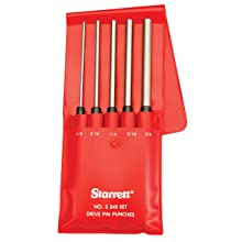 """Starrett S248 Extended length Drive Pin Punch 5-Piece Set, 1/8""""-3/8"""" Pin Diameters, 8"""" Overall Length, 3-1/2"""" Pin Length,"""