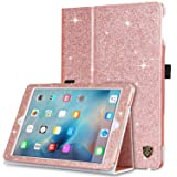 BENTOBEN Glitter Bling Sparkle Folio Folding Stand Smart Cover Stylus Holder Auto Wake/Sleep Luxury Faux Leather Shockproof Protective iPad Case for New iPad 2018 9.7 Inch/iPad 2017 9.7 Inch,Rose Gold (Color: M898-Rose Gold, Tamaño: 9.7 Inch)