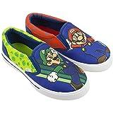 Super Mario Brothers Mario & Luigi Boys Shoes,Easy Slip-on, Nintendo, Blue, Little Kid Size 11 (Color: Blue, Tamaño: 11 M US Little Kid)