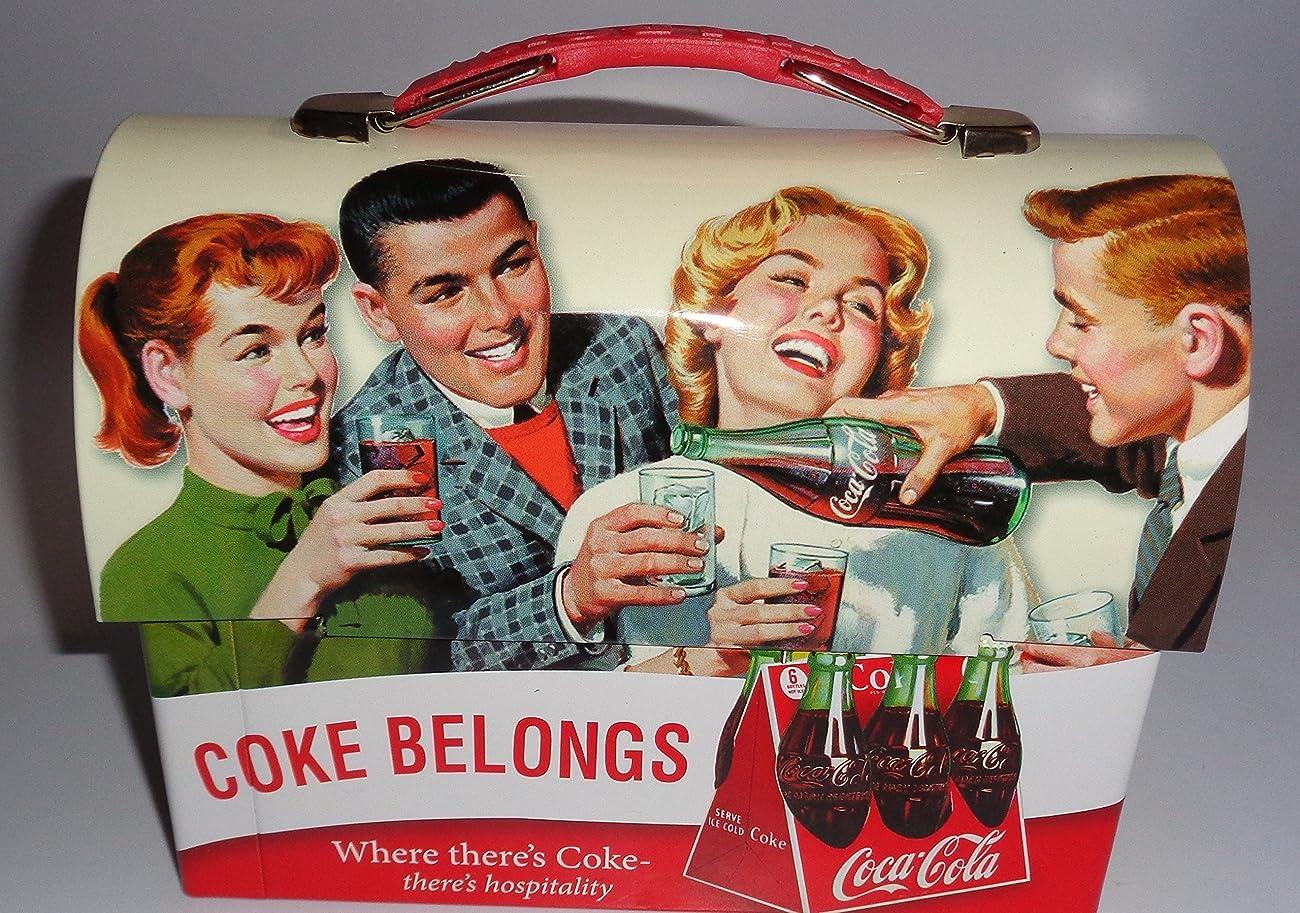 Coca Cola Retro Dome Shapped Tin Lunch Box 0