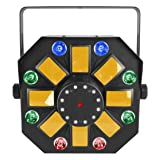CHAUVET DJ Swarm Wash FX 4-in-1 RGBAW Rotating Derby w/LED Wash Light, Red/Green Laser and White SMD Strobes (Color: BLACK, Tamaño: 0)