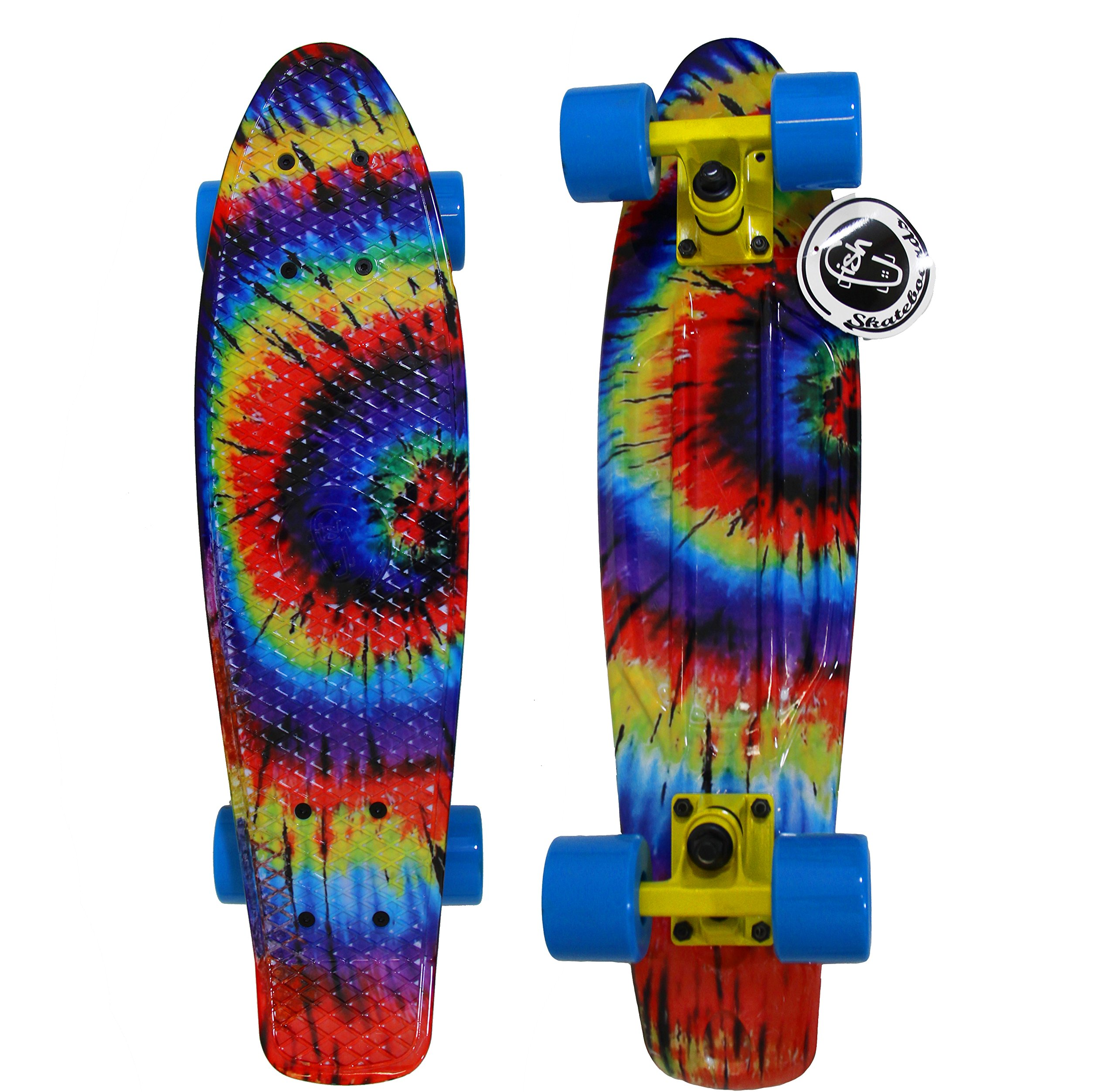 22 Quot Tie Dye Fish Skateboard Retro Plastic Cruiser Vinyl