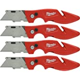 Milwaukee 48-22-1901 Fastback Press and Flip Utility Knife with Belt Clip and Onboard Wire Stripping (Set of 4)