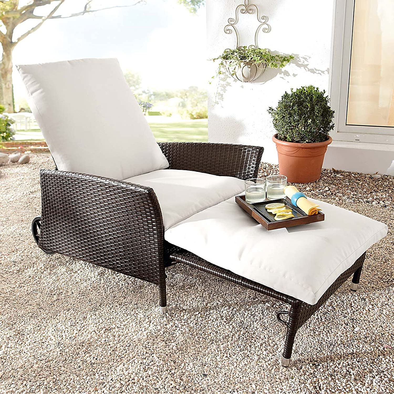 gartensessel komfort inklusive auflage und fu teil braun wei jetzt kaufen. Black Bedroom Furniture Sets. Home Design Ideas