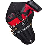 NoCry Left Handed Drill Holster - Balanced Fit for Cordless T-Drills, 17 Accessory Pockets and Open Loops for Tool and Bit Storage, Belt-Attachment (Color: Black, Red)