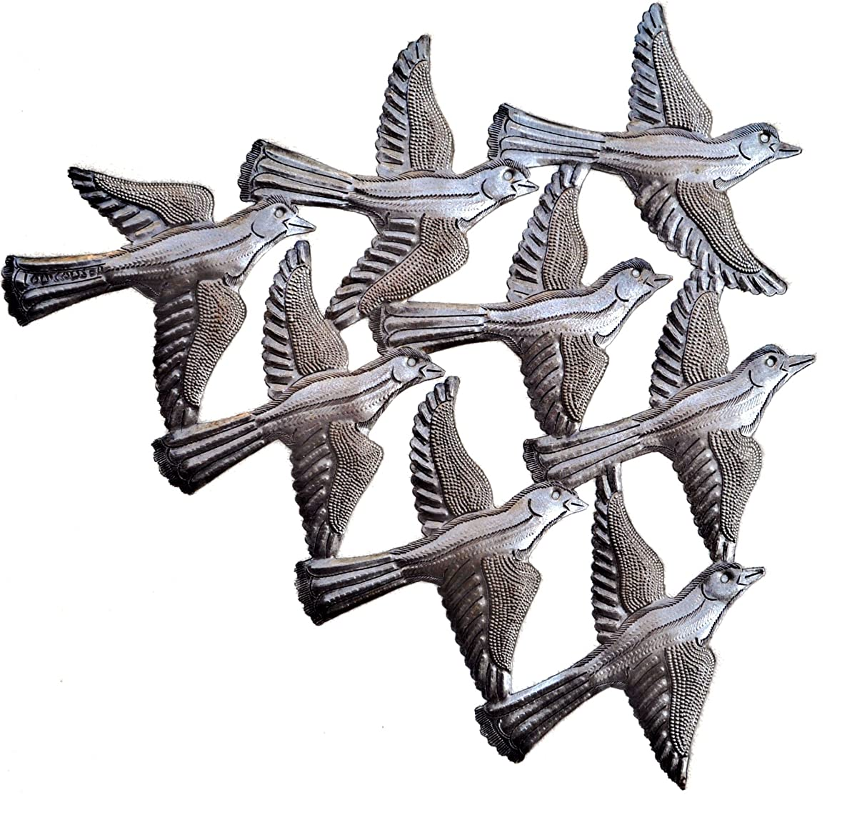 "Spring Garden Flock of Birds Wall Art, Haiti Metal Art, Recycled Steel, Handmade 15.5"" X 12.5"""