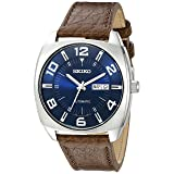 Seiko Men's SNKN37 Stainless Steel Automatic Self-Wind Watch with Brown Leather Band (Color: Silver Tone)