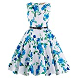 GRACE KARIN Blue Floral Vintage Wiggle Girl's Sleeveless Casual Party Dresses 11~12Yrs K250-3 (Color: K250-3, Tamaño: 11-12 Years)