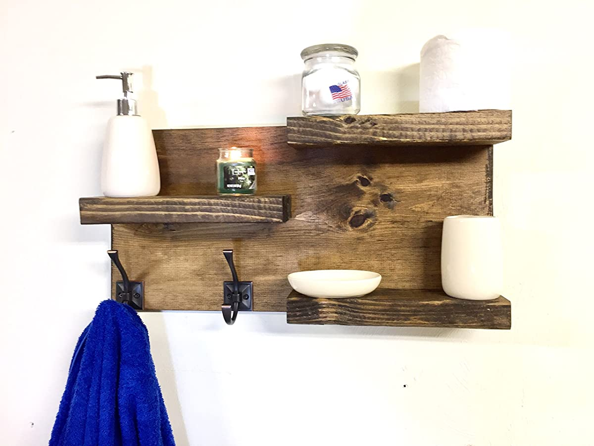 bathroom shelf Rustic 3 Tier Bathroom Shelf with 2 Towel Hooks