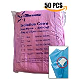 Dental Medical Latex Free Disposable Isolation Gowns Knit Cuff Non Woven | Fluid Resistant (50 Gowns / 5 Packs, Pink) (Color: Pink, Tamaño: 50 Gowns / 5 Packs)