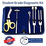 6 Piece Medical Student Diagnostic Kit - Reflex Hammer and Tuning Fork Set C 128 and C 512. Includes a Wantenberg Pinwheel and a Premium Japanese Steel Bandage Scissor 7.5""