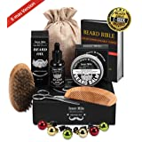 UPGRADED Beard Kit for Men Beard Growth Grooming & Trimming with Unscented Leave-in Conditioner Oil, Mustache & Beard Balm Butter Wax, Beard Brush, Beard Comb, Sharp Scissors, Best Perfect Gift (Color: Beard Set)