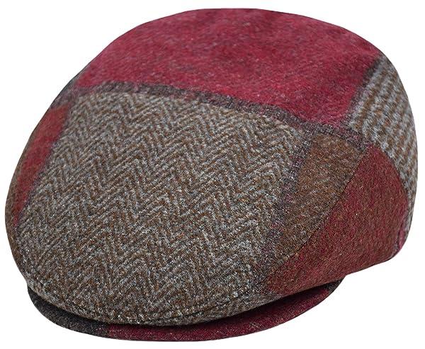 Deewang Classic Men s Flat Hat Wool Newsboy Herringbone Tweed Driving Cap  (IV2761-Burgundy 76572c96f545