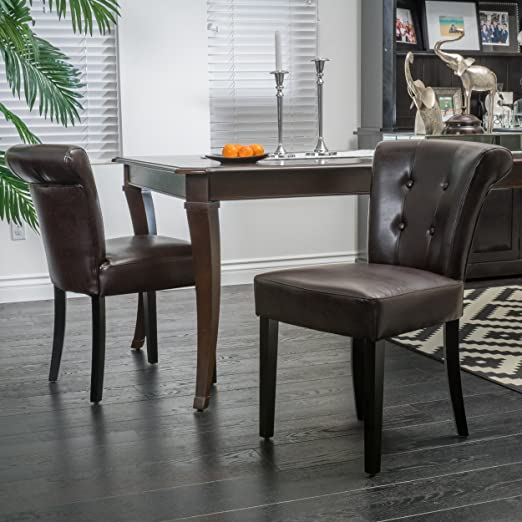 (Set of 2) Moore Brown Leather Dining Chair