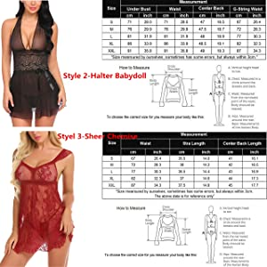 b2a653c462c Avidlove Women V-neck Lace Babydoll Mesh Chemise Sleepwear Sexy Open Back  Lingerie Black Small (Color: ...