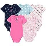 Wan-A-Beez 5 Pack Baby Girls' and Boys' Short Sleeve Bodysuits (3-6 Months, Heart) (Color: Heart, Tamaño: 3-6 Months)