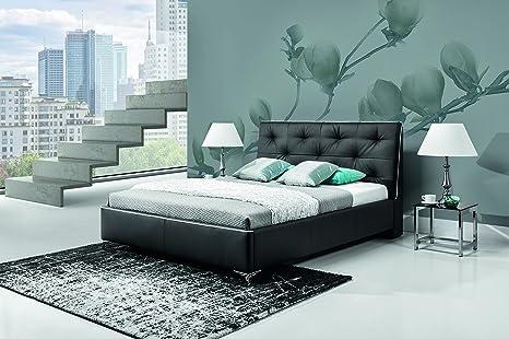 COBO dark extra large 180 cm wide bed bed frame with bed slats pocket sprung mattress upholstered bedroom furniture