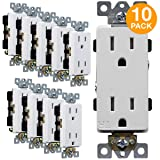 ENERLITES Industrial Grade Decorator Outlet, 15A 125V, Tamper-Resistant Duplex Receptacle, Self-Grounding, 5-15R, 2-Pole, 3-Wire Grounding, UL Listed, 63150-TR, White (10 Pack)