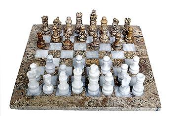 RADICALn handmade Fossil Coral and White marble full chess game original marble chess set - RADICALn corail fossile fait à la main et marbre blanc jeu d'échecs complet jeu d'échecs en marbre original