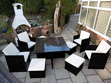 Black Rattan Garden Furniture Cube Set Dining Table Chair Footstools High Back