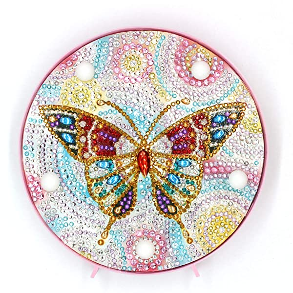 Yobeyi DIY Diamond Painting Lamp with LED Lights Full Drill Crystal Drawing Kit Bedside Night Light Arts Crafts for Home Decoration or Christmas Gifts 6.0x6.0inch (Butterfly-B) (Color: Butterfly-B)