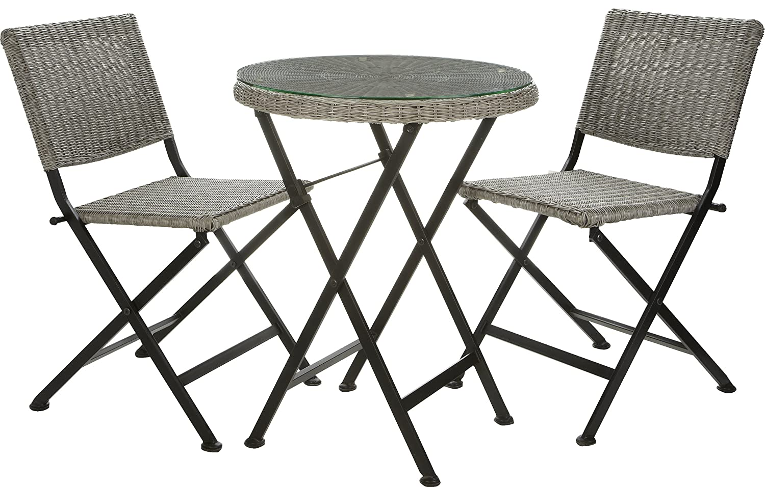gartenfreude bistro set balkonm bel polyrattan grau mit glasplatte 60 cm g nstig online kaufen. Black Bedroom Furniture Sets. Home Design Ideas