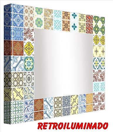 ccretroiluminados Piastrelle Portugues piccoli specchio da bagno con luce, acrilico, multicolore, 60x 60x 5,3cm