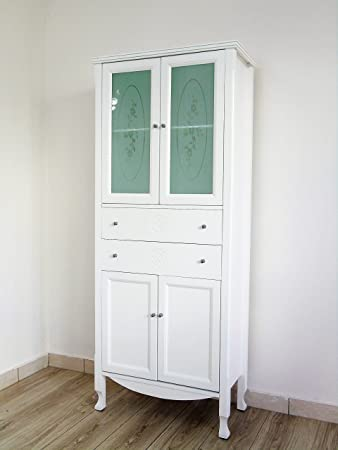 Colonna mobile bagno contamporaneo bianco opaco shabby chic dispensa bagno