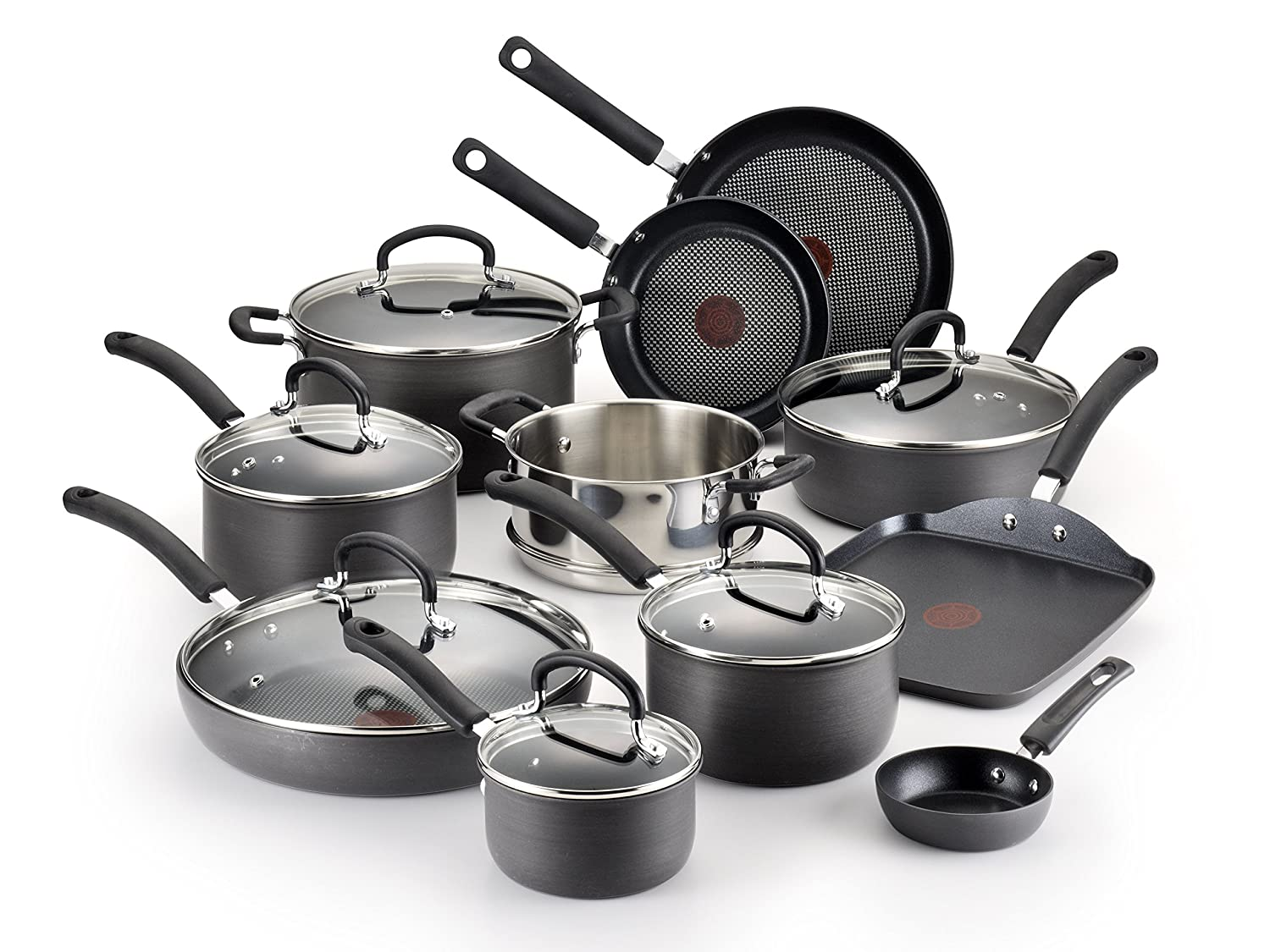 T-Fal E765SH Titanium Nonstick Cookware Set, 17-Piece, Gray Via Amazon