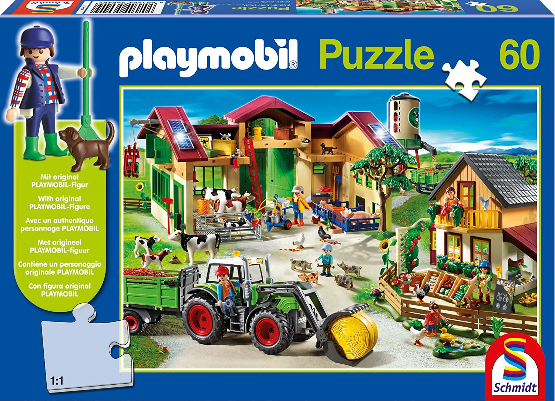 Schmidt Spiele 56040 – Playmobil, Auf dem Bauernhof mit Figur, 60 Teile als Geschenk