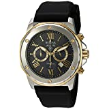 Bulova Men's Quartz Stainless Steel and Silicone Casual Watch, Color:Black (Model: 98B277) (Color: Stainless Steel/Gold Tone/Black)